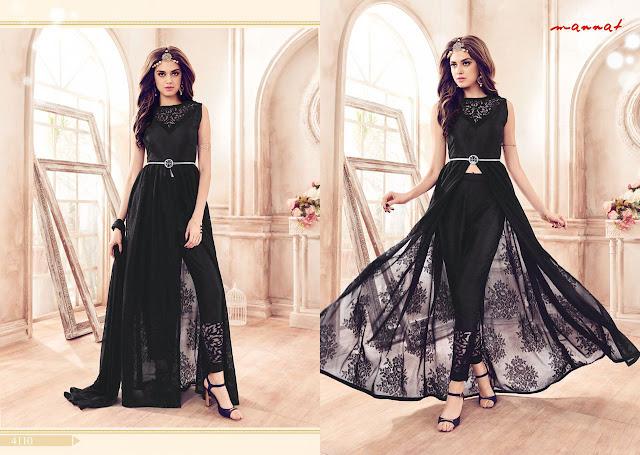 Party Wear Black Color Long Salwar Suit at Low Price