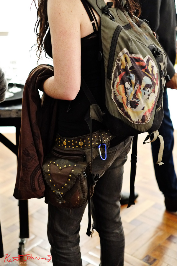 Matching studded belt and side bag in leather, backpack with Wolf Graf. Street Fashion Sydney by Kent Johnson.