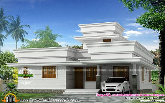 1310 sq-ft decorative flat roof home