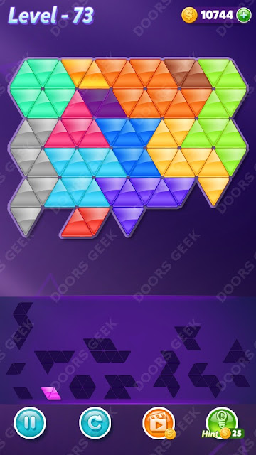 Block! Triangle Puzzle Champion Level 73 Solution, Cheats, Walkthrough for Android, iPhone, iPad and iPod