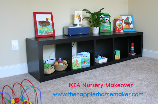 A small bookcase for a nursery with colorful decor for children