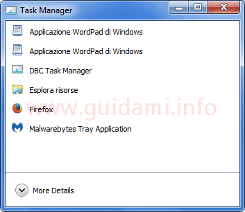 DBC Task Manager interfaccia compatta
