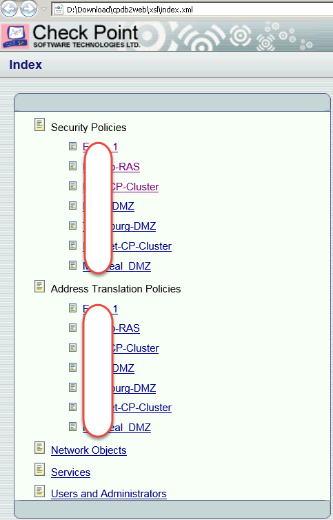 Export Checkpoint Firewall Policy to HTML/XML/Excel and