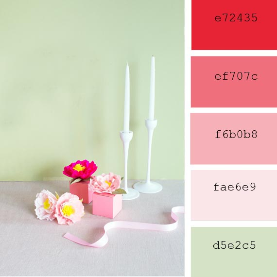 resources for graphic designers, spring peonies color palette