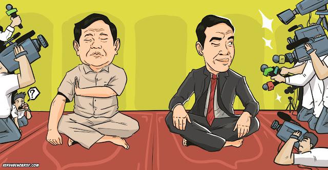 Beda Gaya Jumatan Prabowo dengan Jokowi