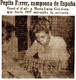 VII Campeonato Femenino de Ajedrez de España 1961, Pepita Ferrer campeona