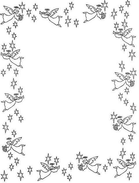 COLOREA TUS DIBUJOS: Borde de ngeles y estrellas para