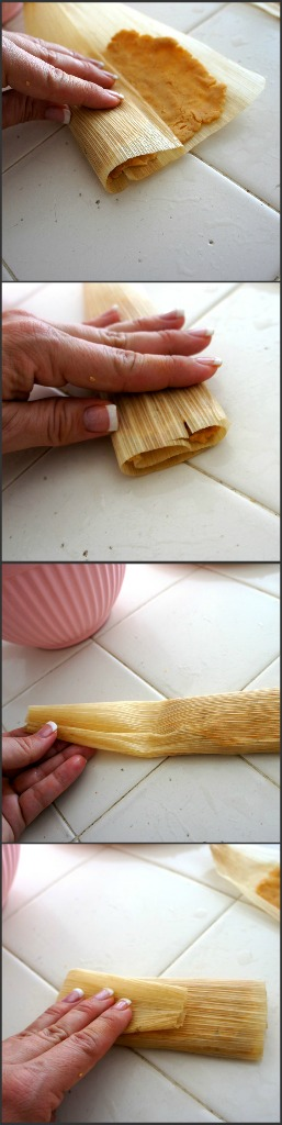 A demonstration on how to roll a tamale