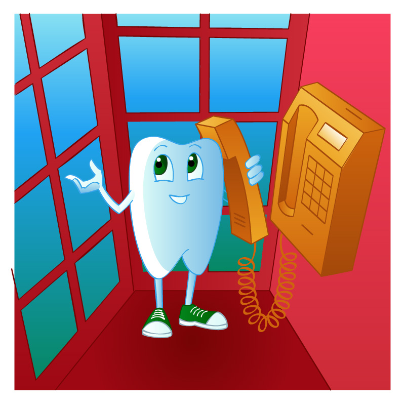 cartoon tooth in phone booth