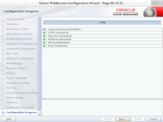 Weblogic domain creation step 20