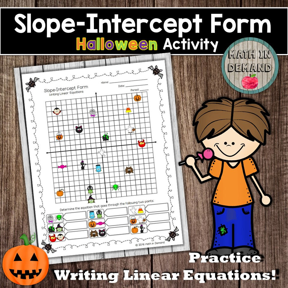 Slope intercept form halloween activity writing linear equations ive got a halloween freebie for you students will be writing linear equations given two points i hope your students enjoy it falaconquin