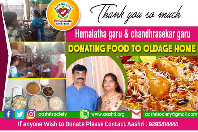 aashri society food donation to oldage with Hemalatha Garu