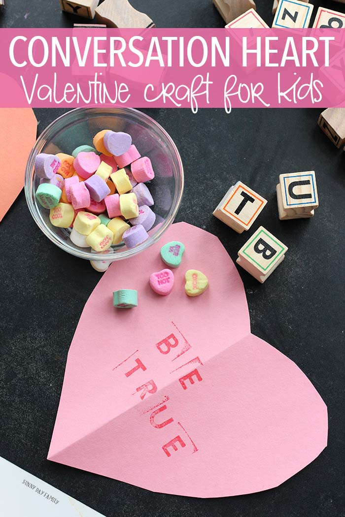 An easy Valentine's Day craft for preschoolers that lets them practice letter recognition too! So sweet and super fun. Valentine Crafts | Conversation Hearts | Candy Hearts | Kid Made Valentines | Valentines for Kids