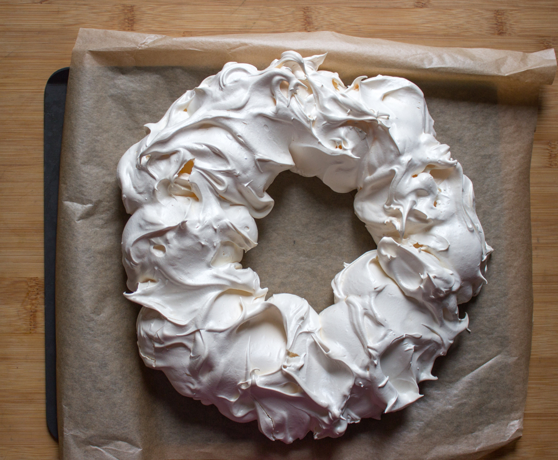 Meringue Wreath out of the oven