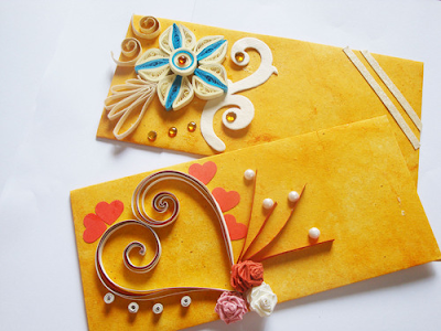 Latest handmade quilling paper envelope designs 2015