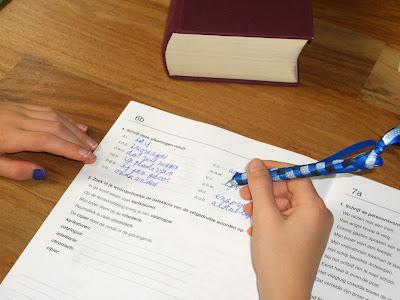 Kind vult zinnen aan in schoolschrift voor grammatica, met een blauwe pen en één blauwgekraste nagel.