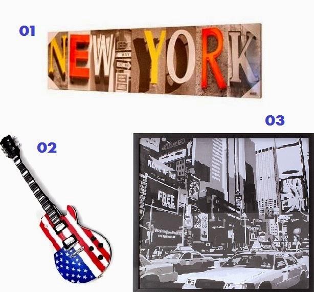 itens de decoração americanos e nova iorquinos