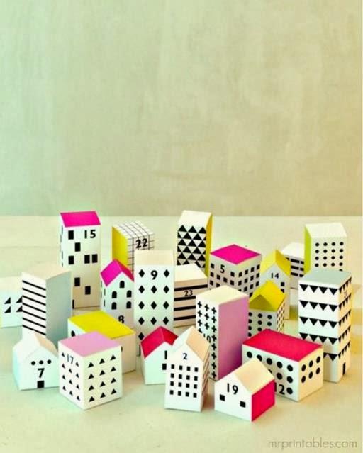 kalendarz adwentowy pudełka, domki