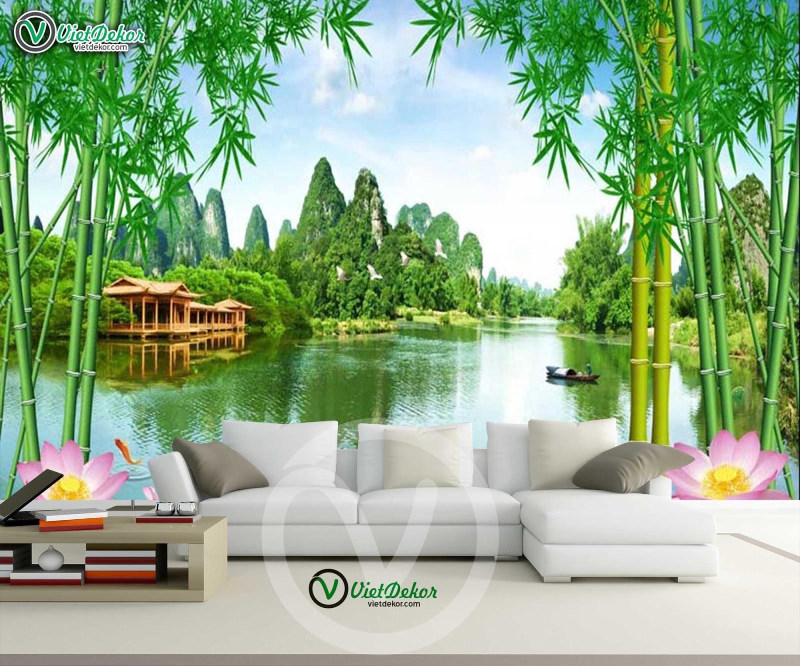 Tranh phong cảnh sông nước cây trúc đẹp