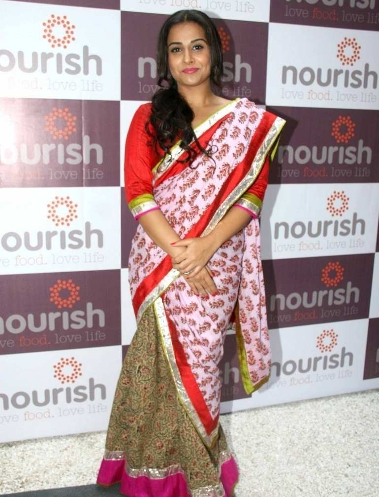 Beautiful Hindi Actress Vidya Balan Photos In Transparent Red Sari