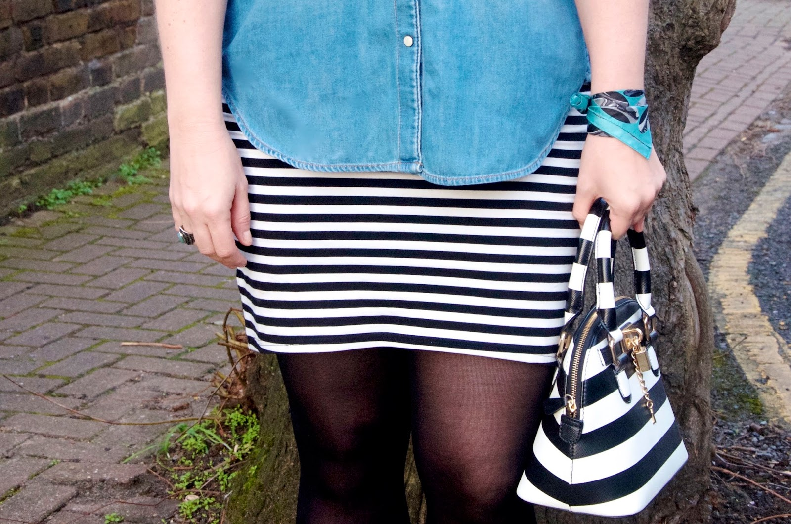 Striped skirt, striped bag, scarf, tights and denim shirt