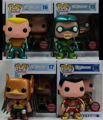 Gemini Collectibles Exclusive Metallic Chase DC Universe Pop! Series 3 by Funko - Aquaman, Green Arrow, Hawkman & Shazam Vinyl Figures