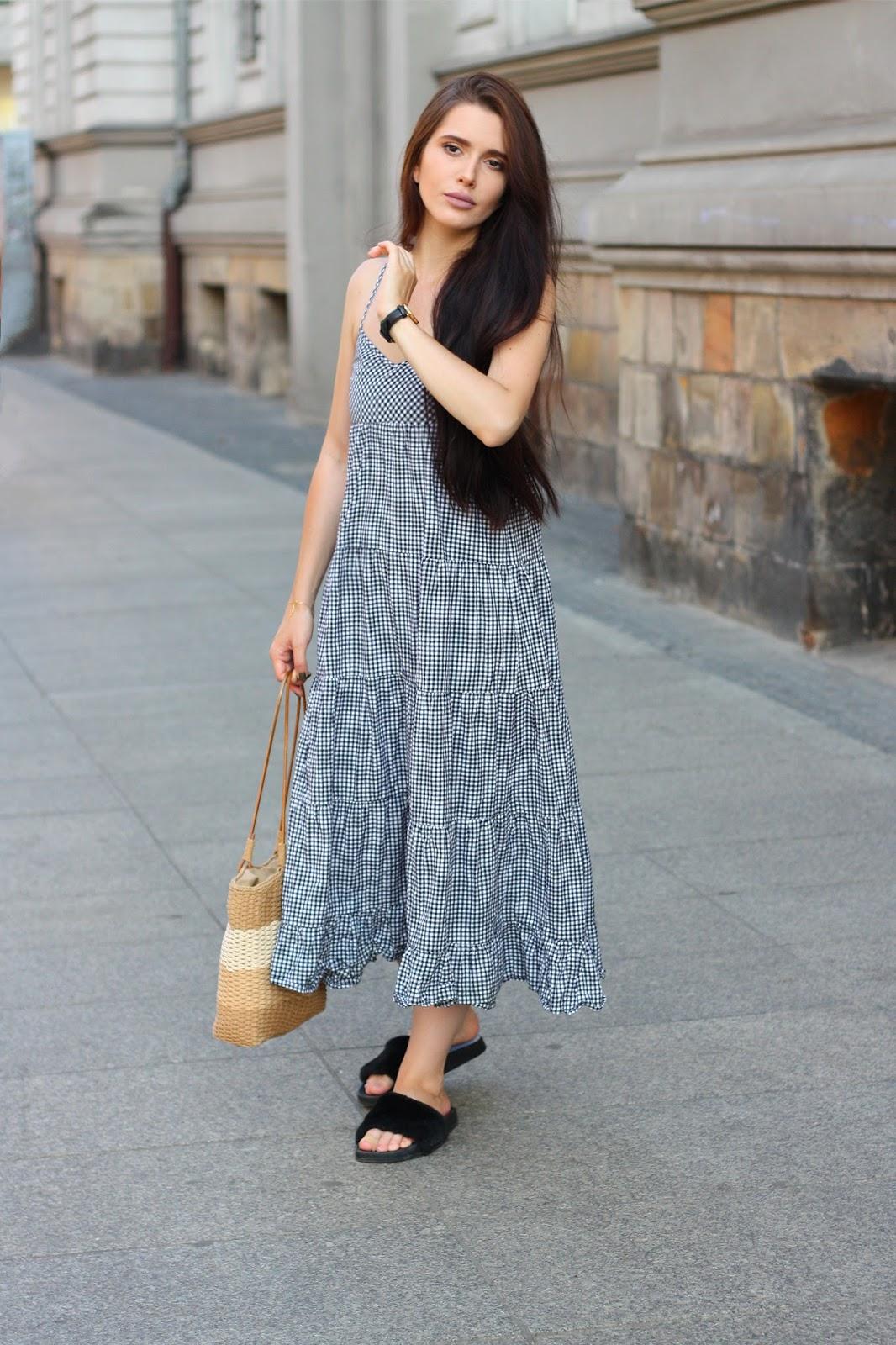 checked dress, basket bag, torba koszyk, trendy 2017