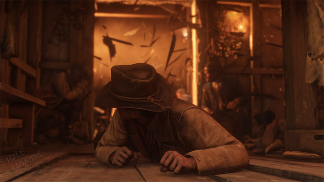 Rockstar Games Red Dead Redemption 2 Gameplay Trailer Stills explosion rocks the town