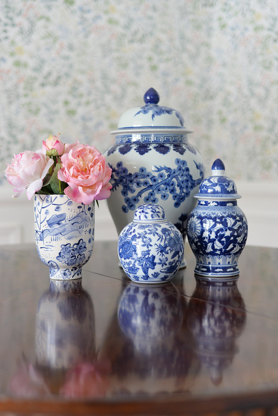 spring decorations for the home, blue and white ginger jar collection, jill rosenwald erin gates tall bowl