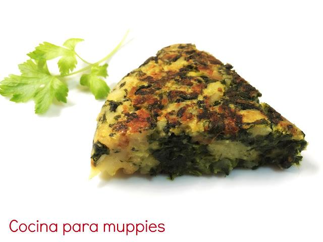 """alt=""""tortilla de patatas con espinacas vegana"""""""