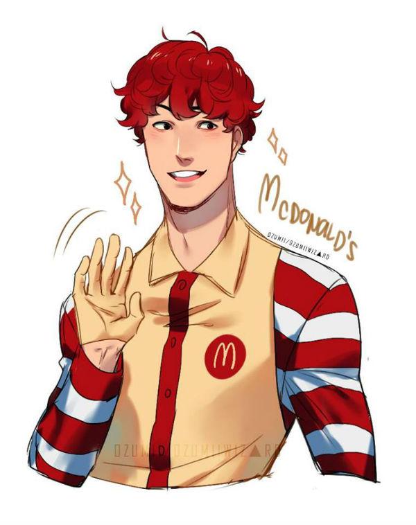 Maskotka McDonald's jako postać z anime