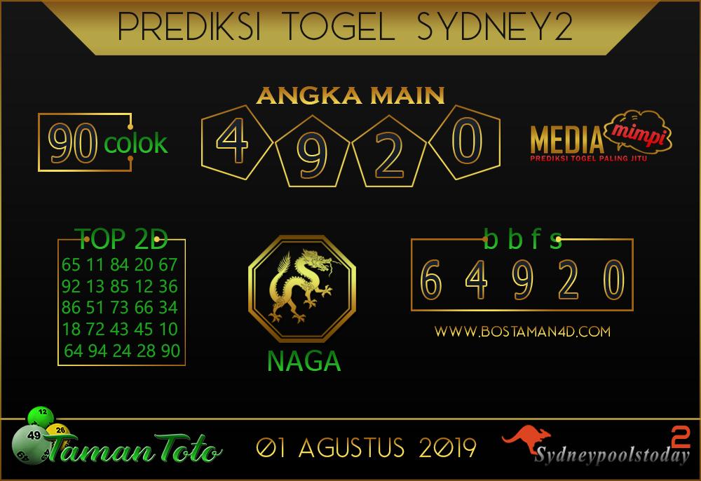 Prediksi Togel SYDNEY 2 TAMAN TOTO 01 AGUSTUS 2019