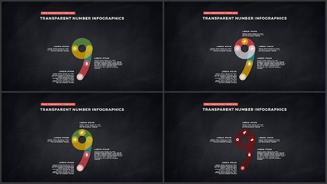 Infographic Transparent Design Elements for PowerPoint Templates in Dark background using Number 9