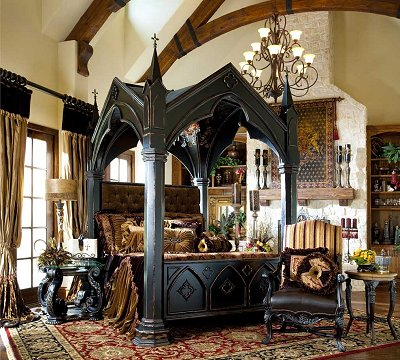 Gothic style bedroom decorating ideas - Gothic furniture - Gothic chic - Victorian Gothic boudoir themed decor - Gothic Beds - Gothic Seating - Gothic Lighting - Designing a Gothic Room - Goth style for teens - Gothic Victorian Bedroom Theme - vampire themed bedroom decorating ideas - Gothic Wall Murals