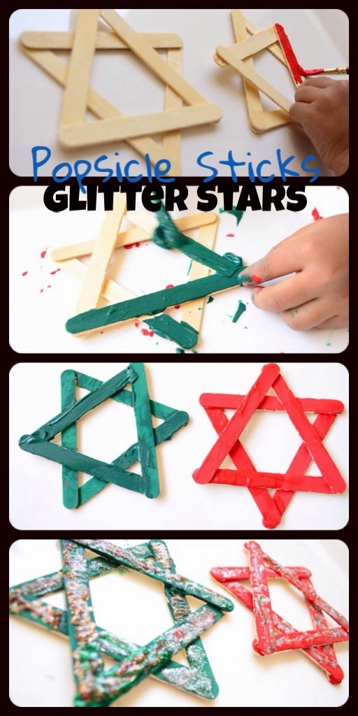 Kids Christmas Craft: Glitter Stars with Popsicle Sticks