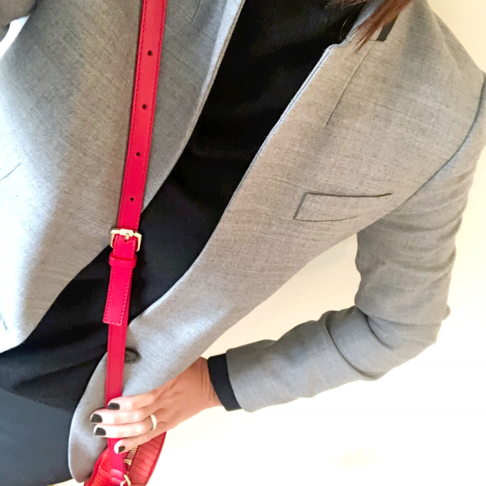 my midlife fashion, marks and spencer pure cashmere roll neck jumper, j crew regent blazer, uterque mock croc crossbody bag, j crew camerson slim fit pants, french sole henrietta ballet pumps