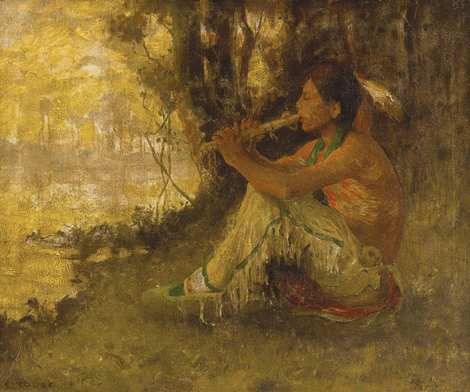 Eanger  Irving  Couse  The  Flute  Player C