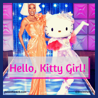 "RuPaul Charles and Sanrio's Hello Kitty pose for the camera in Hollywood, California during the taping of the Season 7 episode ""Hello, Kitty Girl"""