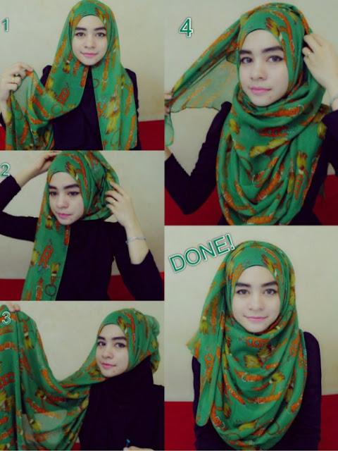 Cara Mengenakan Hijab Segi Empat Mudah
