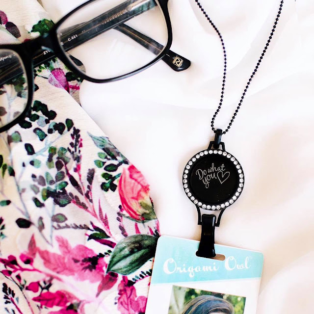 Origami Owl Do What You Love Plate in our Large Black Lanyard Living Locket Base with Large Twist Living Locet Face with Swarovski Crystals on our 30 inch Black Classic Ball Chain Necklace - Shop StoriedCharms.com