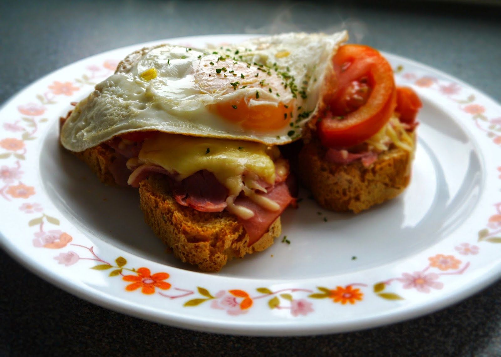 Breakfast on home baked bread