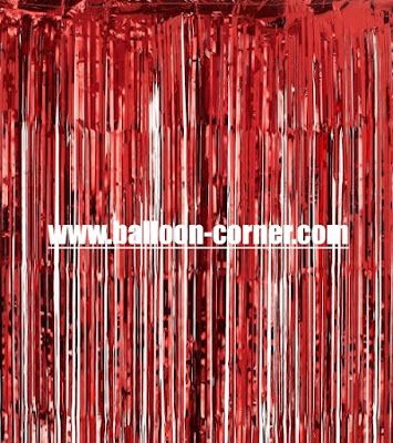 Red Foil Curtain / Tirai Foil Merah