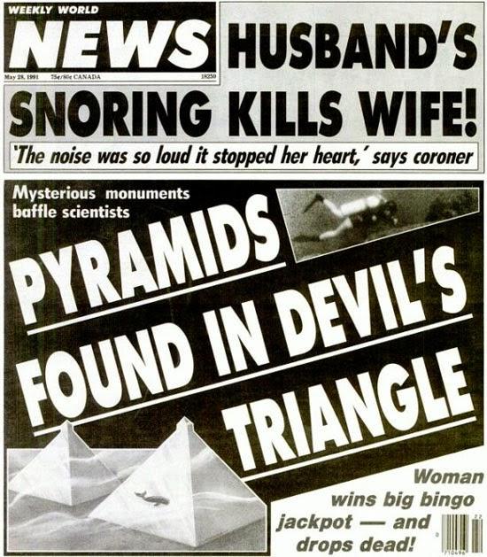 Pirâmides submarinas - Manchete de Jornal