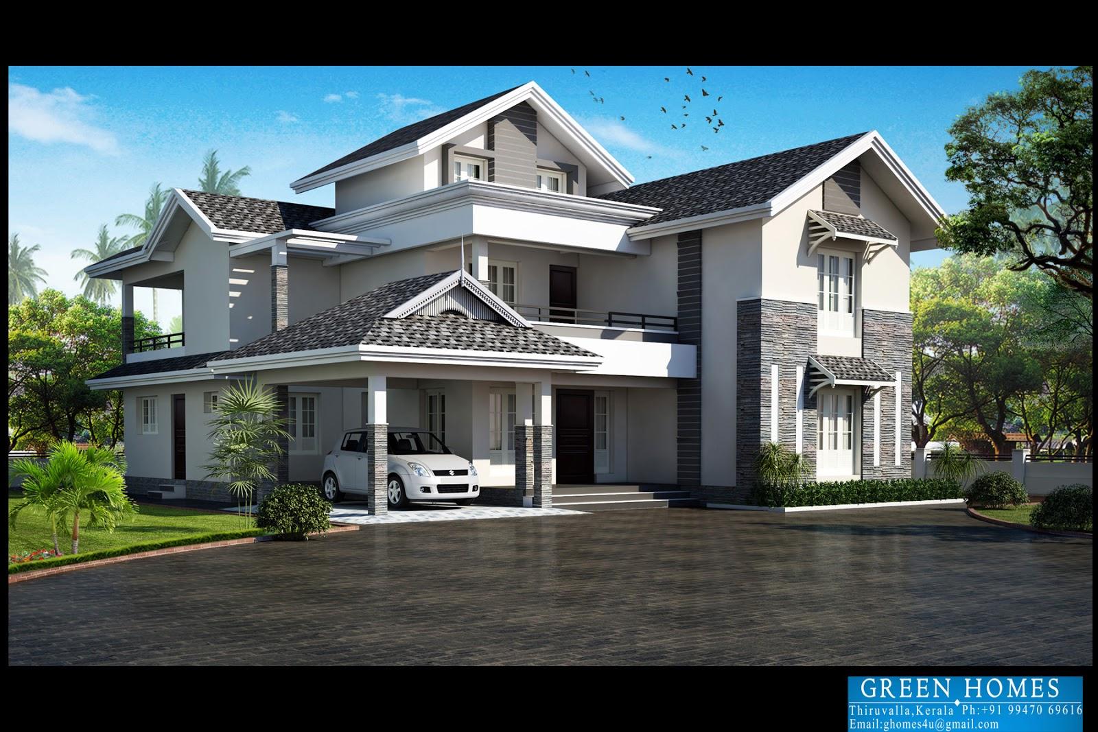 Green Homes Modern Slopping Roof Villa Design