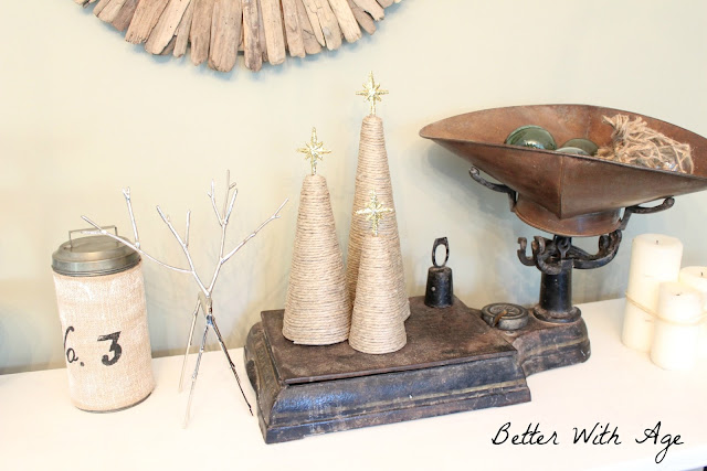 Twine Christmas trees www.somuchbetterwithage.com