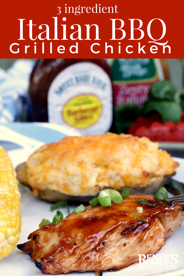 Italian BBQ Grilled Chicken | Renee's Kitchen Adventures - easy recipe for grilled barbecue chicken breasts made with BBQ sauce and Italian Salad Dressing. Perfect dinner recipe or lunch recipe! #CurbsideConvenience