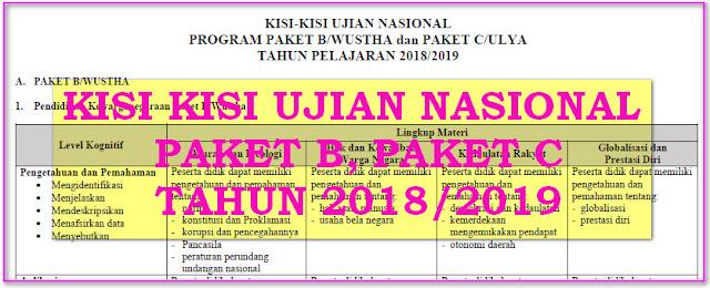 KISI KISI UJIAN NASIONAL 2019 PAKET B, PAKET C KURIKULUM 2013 - BSNP