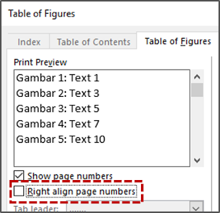 Right align page numbers (Table of figures)