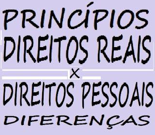 PRINCÍPIOS DIREITOS REAIS X DIREITOS PESSOAIS