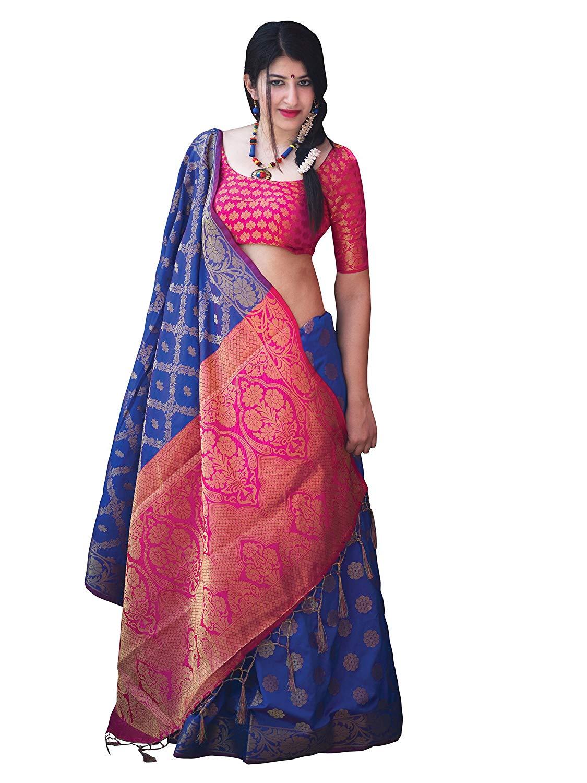 Applecreation Women'S Patola Silk Saree With Blouse Piece (10)